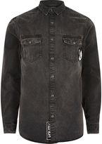 River Island Mens Black badge western denim shirt