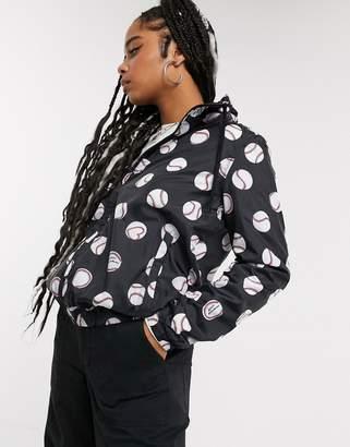 Love Moschino allover baseball print padded hooded jacket-Black