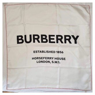 Burberry White Silk Scarves