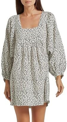 Jade Puff-Sleeve Print Linen Dress