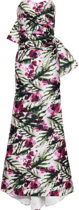 Badgley Mischka Strapless Bow-embellished Floral-print Duchesse Satin-twill Gown
