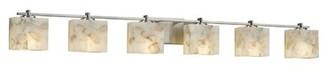 Justice Design Group Alabaster Rocks!TM Union 6-Light Bath Bar Design Group Finish: Brushed Nickel, Bulb Type: Dedicated LED