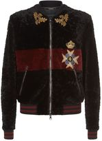 Dolce & Gabbana Embellished Shearling and Leather Jacket
