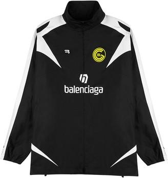 Balenciaga Black Logo-print Cotton-twill Jacket