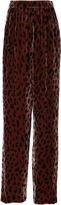 Tibi Cheetah Velvet Wide Leg Pants
