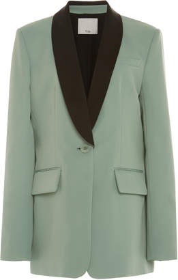 Tibi Oversized Color-Blocked Twill Tuxedo Blazer