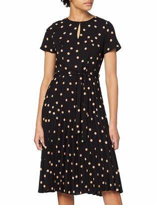 Dorothy Perkins Women's Black Spot Wrap Pleated Midi Dress 6