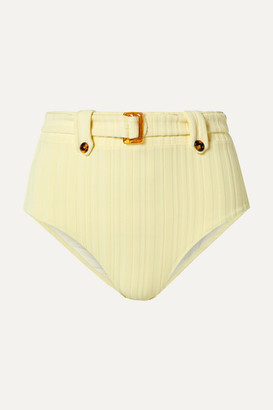 Solid & Striped The Annie Belted Ribbed Bikini Briefs - Pastel yellow