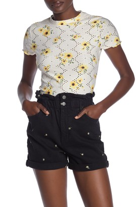 Love, Fire Short Sleeve Floral Print Eyelet T-Shirt