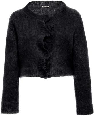 Miu Miu Cropped Mohair-Blend Knit Sweater