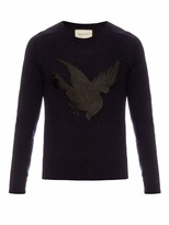 Gucci Bird-appliqué wool and cashmere-blend sweater