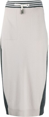 Lorena Antoniazzi Colour-Block Knitted Midi Skirt
