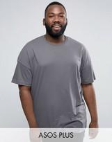 Asos PLUS Oversized Longline T-Shirt In Washed Blue
