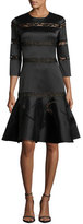Sachin + Babi 3/4-Sleeve Tiered Lace Fit-and-Flare Dress, Onyx