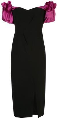 Marchesa Puff Sleeve Fitted Bardot Dress