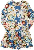 Roberto Cavalli Just Cavalli Dropwaist 2 Tier Dress (Toddler/Kid) - Blue Floral-2 Years
