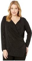 Karen Kane Plus Plus Size Sparkle Knit Wrap Top (Black) Women's Clothing