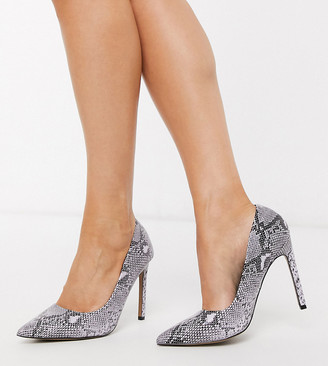 ASOS DESIGN Wide Fit Porto pointed high heeled court shoes in warm grey snake