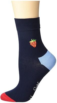 Happy Socks Embroidery Strawberry 1/2 Crew Sock (Navy/Red) Women's Crew Cut Socks Shoes