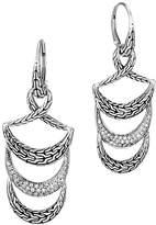 John Hardy Sterling Silver Classic Chain Pavé Diamond Tier Triple Drop Earrings - 100% Exclusive