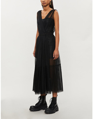 Pinko Ottimare faux-leather and tulle midi dress