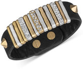 The Sak Gold-Tone Black Leather Slider Accent and Stud Bracelet