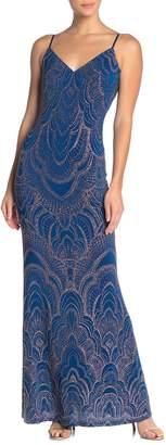 Jump Glitter V-Neck Spaghetti Strap Maxi Dress