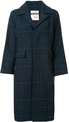 Coohem long sleeve tartan tweed coat
