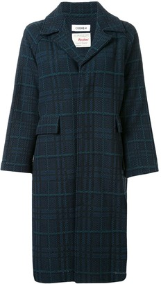 Coohem Long Sleeve Tartan Tweed Coat