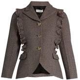 Sonia Rykiel Single-breasted ruffle-trimmed wool-tweed jacket