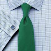 Charles Tyrwhitt Slim Fit Non-Iron Check Green Cotton Dress Casual Shirt French Cuff Size 14.5/33