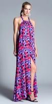 Julian Chang Violet Halter Silk Maxi Dress