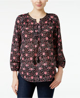 Style&Co. Style & Co Lace-Up Peasant Top, Only at Macy's