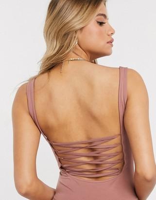 ASOS DESIGN lace up back bodysuit in light brown