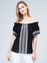 525 America Embroidered Off The Shoulder Top
