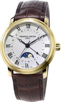 Frederique Constant FC-330MC4P5 moon-phase gold-plated stainless steel and leather watch