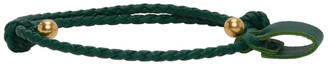 Bottega Veneta SSENSE Exclusive Green and Gold Intrecciato Bracelet
