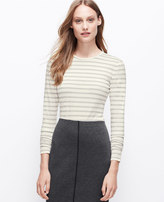 Ann Taylor Striped Jewel Neck Long Sleeve Tee