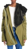 Toga Women's Hooded Cocoon Coat With Removable Faux Fur Collar