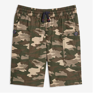 Joe Fresh Kid Boys' Print Cargo Shorts, Dark Green (Size M)
