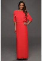 Halston Elbow Sleeve Boatneck Gown with Draped Back Detail (Poppy) - Apparel