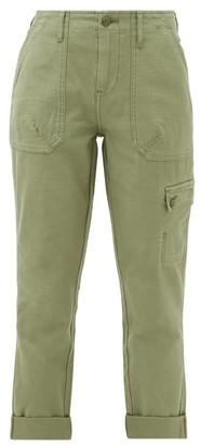 Frame Cropped Cotton Cargo Trousers - Womens - Khaki