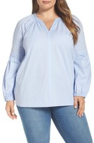 Vince Camuto Plus Size Women's Cotton Poplin Peasant Blouse