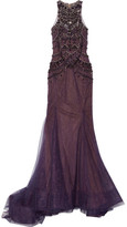 Marchesa Embellished Tulle And Chantilly Lace Gown - Dark purple