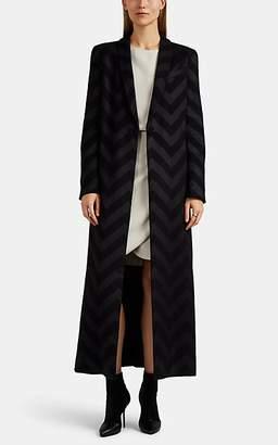 Giorgio Armani Women's Chevron Silk-Blend Coat - Black