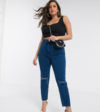 Asos DESIGN Curve Farleigh high waisted slim mom jeans with rips in bright blue wash with raw hem