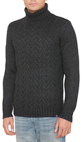 Original Penguin Plait Stitch Turtle Neck Jumper, Dark Charcoal Heather