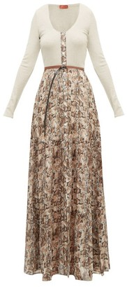 Altuzarra Pollie Belted Snakeskin-print Maxi Dress - Ivory