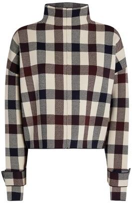 Victoria Beckham Check Funnel-Neck Sweater