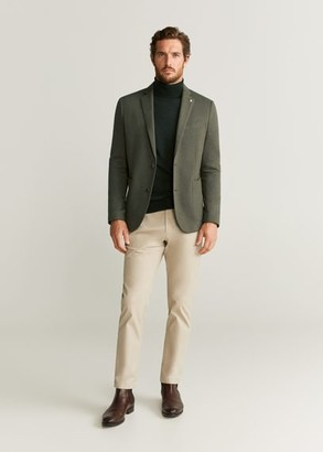MANGO Herringbone slim-fit blazer